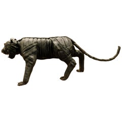 Black Panther Statue of Reused Tire, Italian Art, 1900