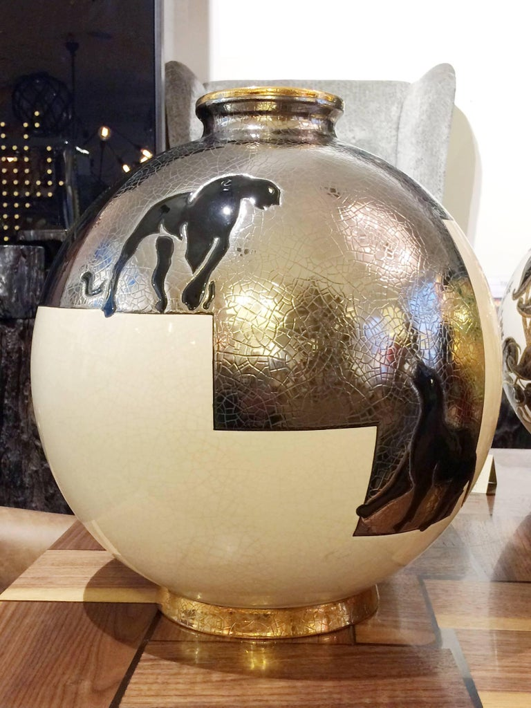 French Black Panther Vase Emaux de Longwy For Sale