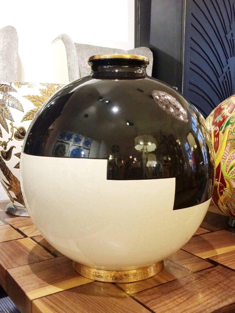 Black Panther Vase Emaux de Longwy In Excellent Condition For Sale In Paris, FR