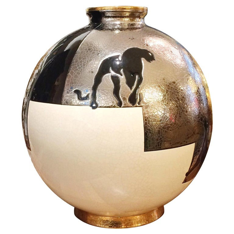Black Panther Vase Emaux de Longwy For Sale