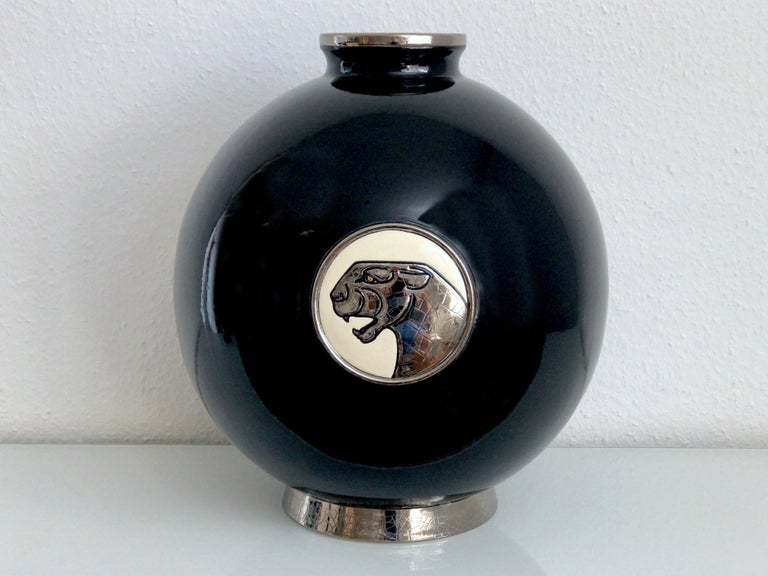 Art Deco Black Panther Vase Limited Edition from Emaux de Longwy Coloniale XL Panthère For Sale