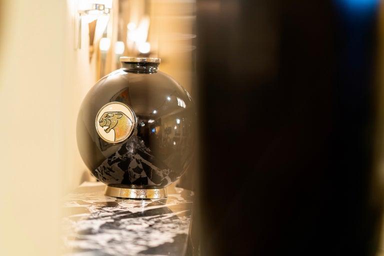 Impressive, big Emaux de Longwy ceramic vase decorated with real platinum.