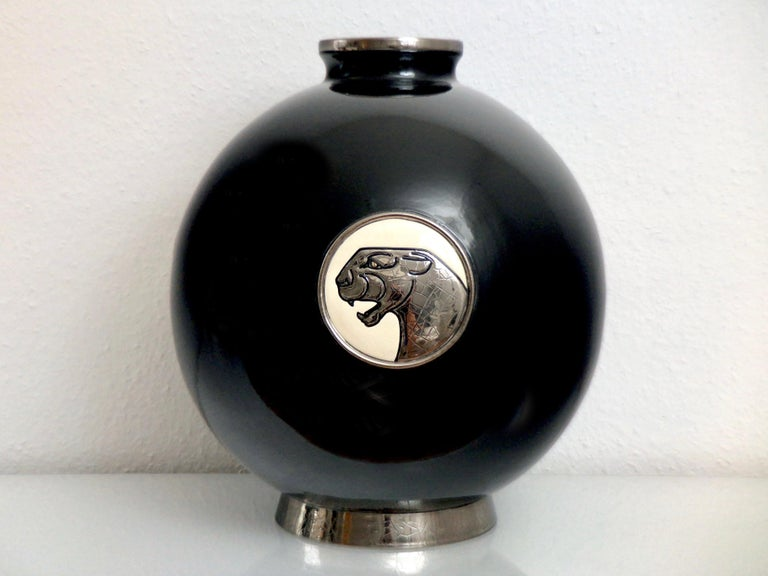 French Black Panther Vase Limited Edition from Emaux de Longwy Coloniale XL Panthère For Sale