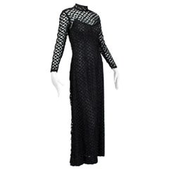 Black Pat Sandler Côte d'Azur Illusion Crochet Maxi Dress - XS, late 1960s