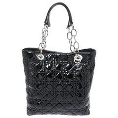 Black Patent Leather Soft Shopper Tote