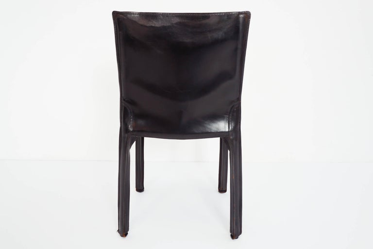 Steel Black Patina Leather Mario Bellini Cassina Set of 2 Chairs Mod. CAB 412, Italy For Sale