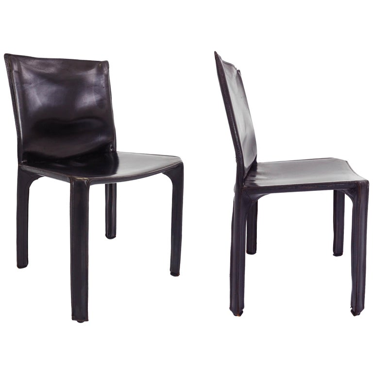 Black Patina Leather Mario Bellini Cassina Set of 2 Chairs Mod. CAB 412, Italy For Sale