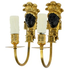 Black Patinated and Bronze Face Sconces