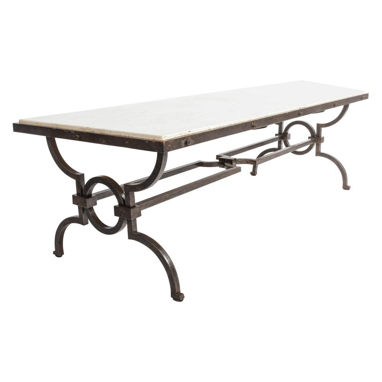 Black Patinated and Gilded Wrought Iron Coffee Table by Gilbert Poillerat, 1940s For Sale