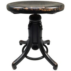 Black Patinated Bentwood Piano Stool by Thonet, Austria, 1900s