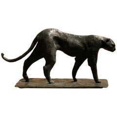 Black Patinated Solid Bronze Contemporary Art Deco Inspired Leopard Sculpture