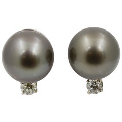 Black Pearl and Diamond 14 Karat White Gold Earrings