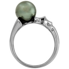 "FARBOD Black Pearl and Platinum Cocktail Ring ""Mitra"""