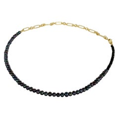 Black Pearl Beaded Choker Necklace Black Spinel Gold Filled Chain J Dauphin