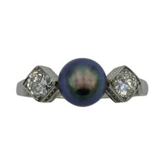 Black Pearl Diamond Platinum Ring Wedding Engagement Ring