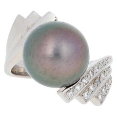 Black Pearl & Diamond Ring, 14k White Gold Bypass
