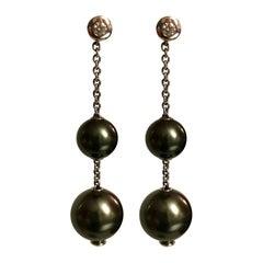 Black Pearl Diamond white Gold Earrings