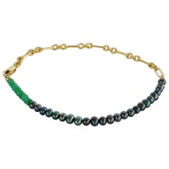 Black Pearl Green Chrysoprase Gold Filled Chain Beaded Bracelet J Dauphin