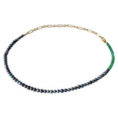 Black Pearl Green Chrysoprase Gold Filled Chain Beaded Choker Necklace J Dauphin