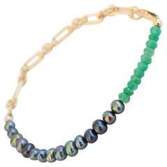 Black Pearl Chrysoprase Bracelet Gold Filled Chain J Dauphin