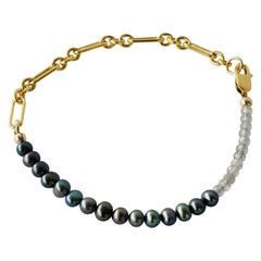 Rainbow Labradorite Black Pearl Gold Filled Chain Bracelet J Dauphin