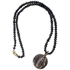 Black Pearl Necklace French Vintage Medal Pendant One of a Kind J Dauphin
