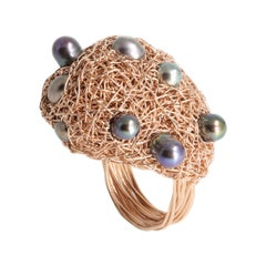 Multi Dark Pearl 14 kt Rose Gold F Woven Statement & Cocktail Ring by the Artist