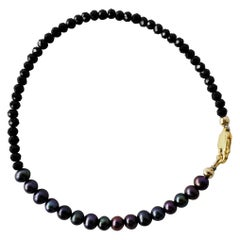 Black Pearl Beaded Bracelet Spinel Gold Filled Chain J Dauphin