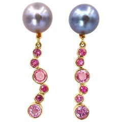 Black Pearl Studs and Detachable Hanging Mixed Size Round Pink Sapphire 18K Gold