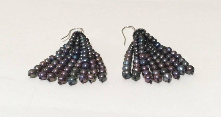 Black Pearl Tassel Earrings with White Gold Plated Silver Cup by Marina J In New Condition For Sale In Beverly Hills, CA