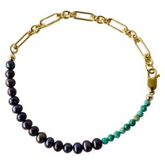 Turquoise Black Pearl Gold Filled Chain Bracelet J Dauphin