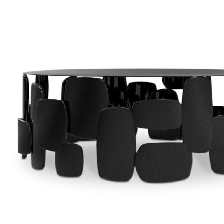 Blackened Black Pebb Coffee Table For Sale