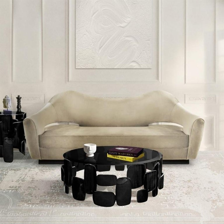 Contemporary Black Pebb Coffee Table For Sale