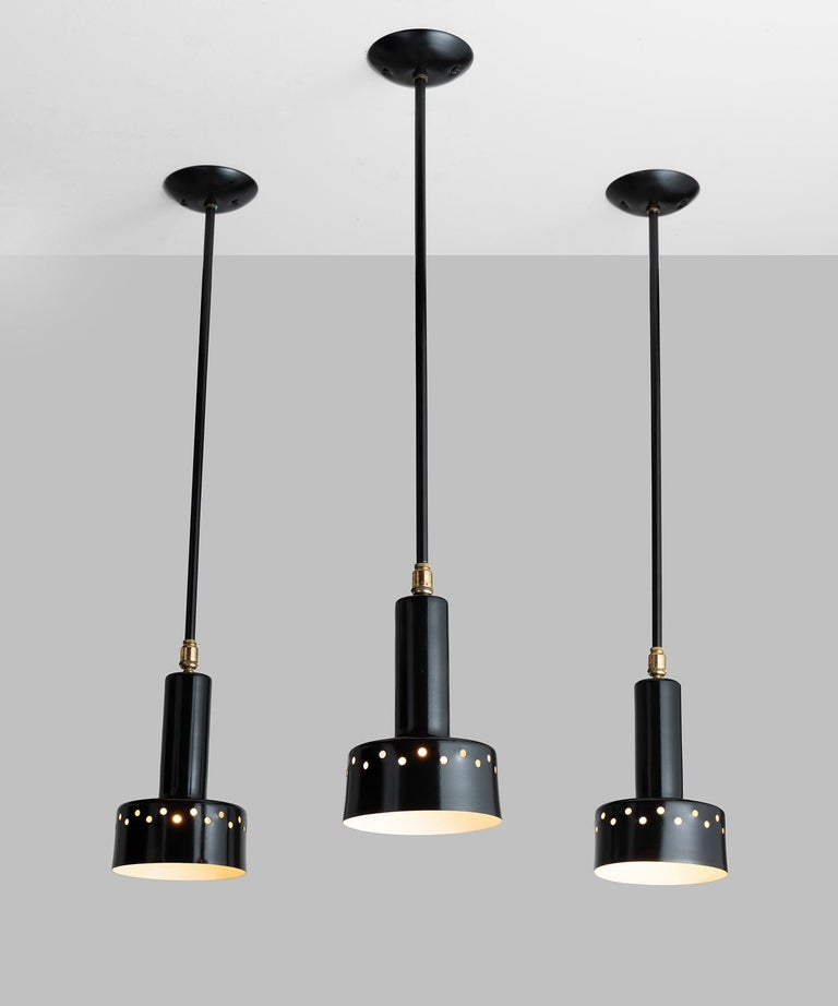 Painted Black Perforated Metal Ceiling Mount Light, France, 1950 For Sale