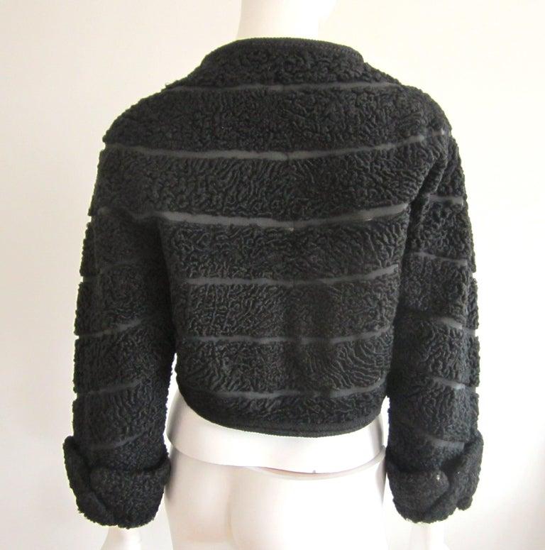 Women's or Men's Black Persian Lamb Astrakan FUR Bolero Jacket  For Sale