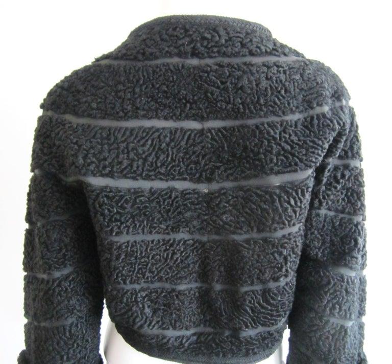 Black Persian Lamb Astrakan FUR Bolero Jacket  For Sale 1