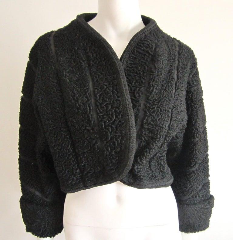 Black Persian Lamb Astrakan FUR Bolero Jacket  For Sale 3