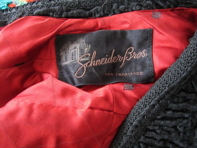 Black Persian Lamb Astrakan FUR Bolero Jacket  For Sale 4