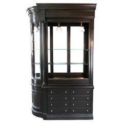 Black Pharmacy Cabinet with Curved Glass