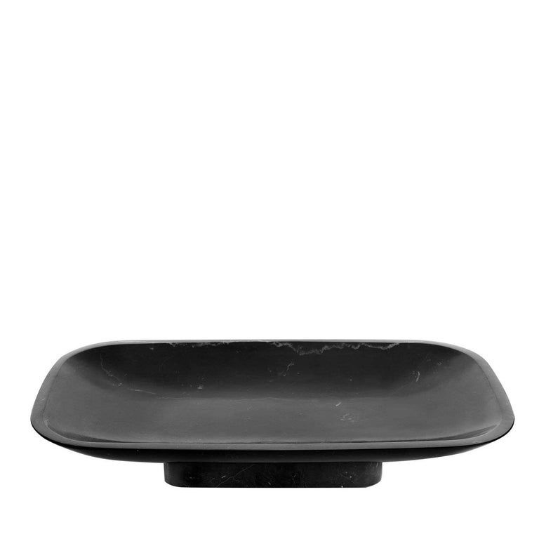 Fruit bowl, oval, in black Marquina marble, matt polished finish also available in Calacatta or white Carrara marble, matt polished finish.