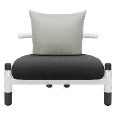 Black PK15 Single Seat Sofa, Steel Structure and Ebonized Legs by Paulo Kobylka