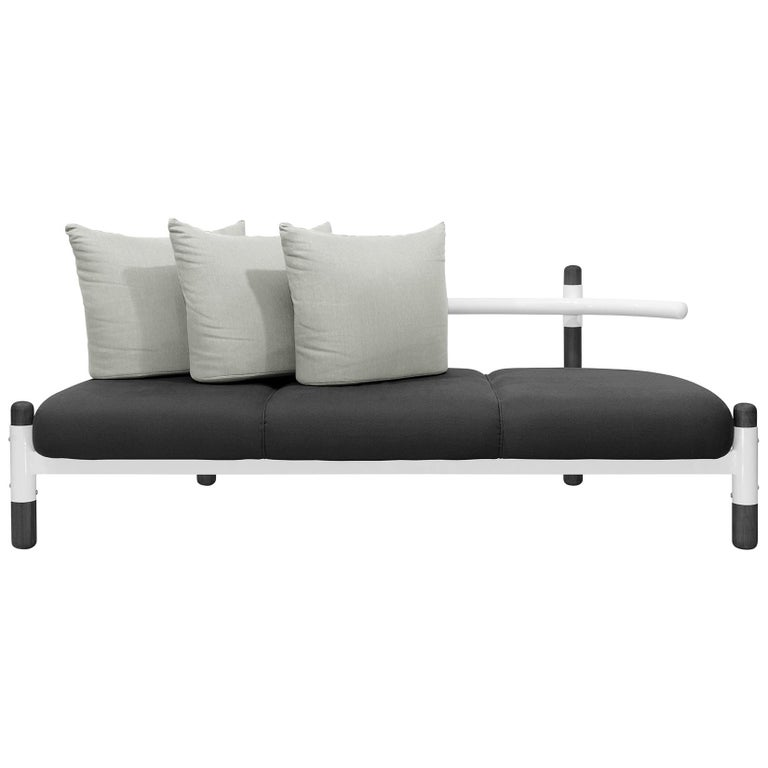 Black PK15 Three-Seat Sofa, Steel Structure and Ebonized Legs by Paulo Kobylka For Sale