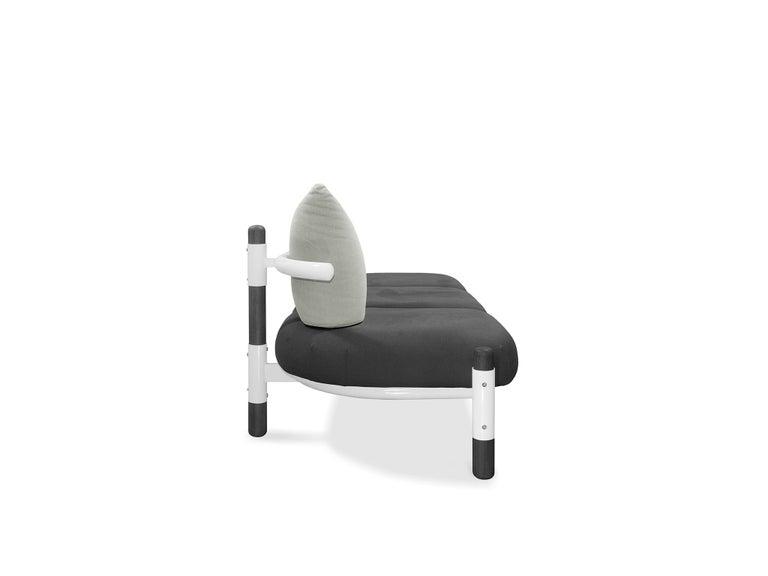 Modern Black PK15 Three-Seat Sofa, Steel Structure and Ebonized Legs by Paulo Kobylka For Sale