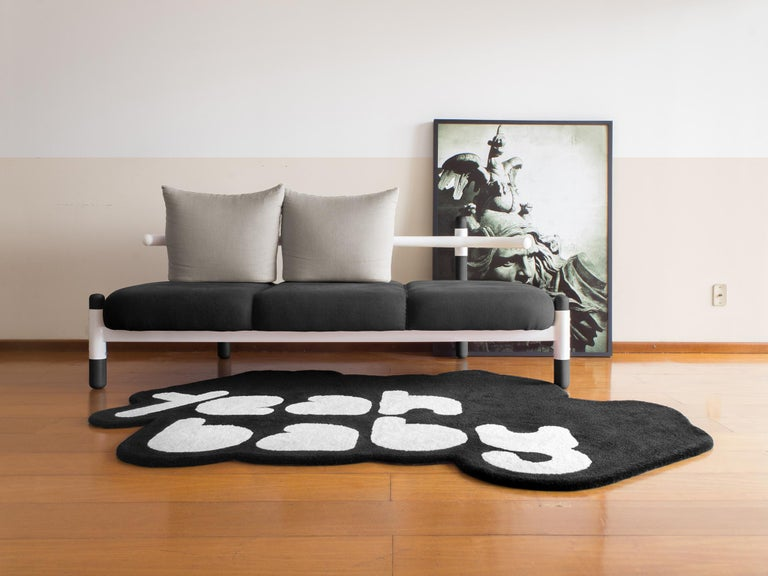 Black PK15 Three-Seat Sofa, Steel Structure and Ebonized Legs by Paulo Kobylka In New Condition For Sale In Londrina, BR