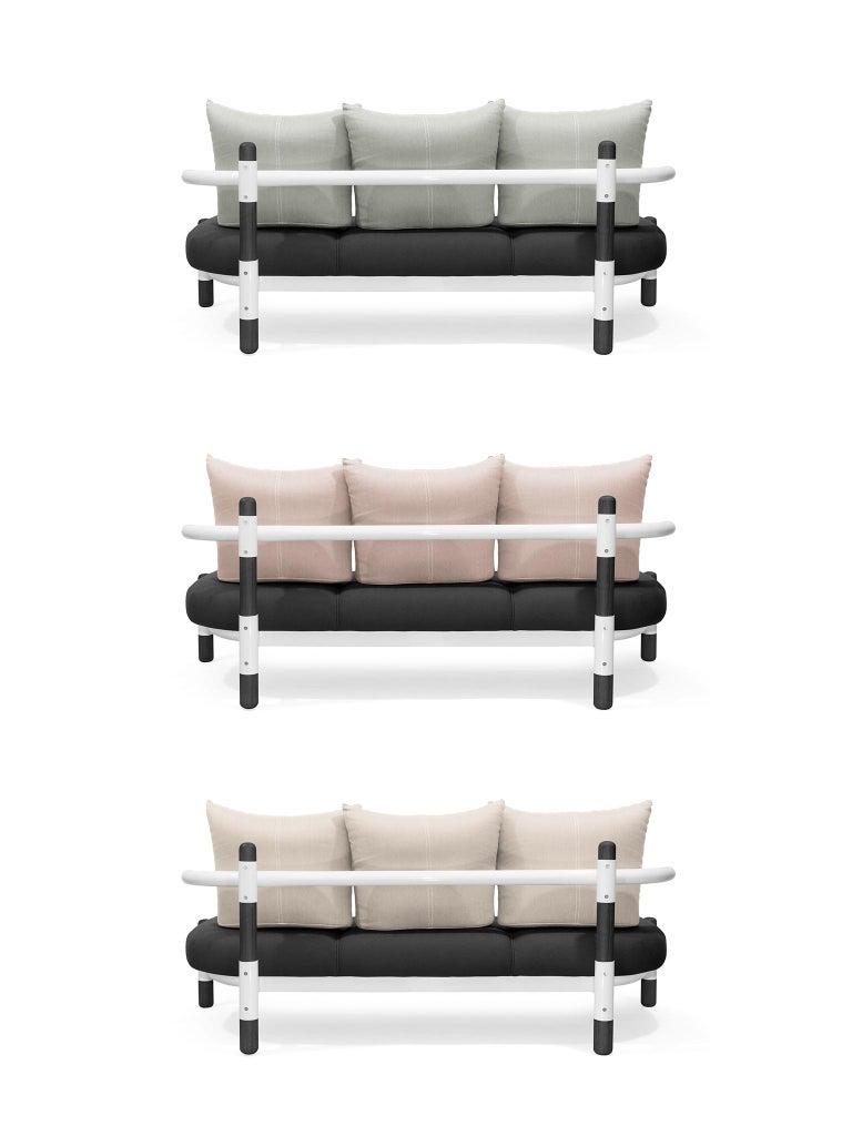 Black PK15 Three-Seat Sofa, Steel Structure and Ebonized Legs by Paulo Kobylka For Sale 1