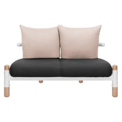 Black PK15 Two-Seat Sofa, Carbon Steel Structure and Wood Legs by Paulo Kobylka