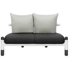 Black PK15 Two-Seat Sofa, Steel Structure & Ebonized Wood Legs by Paulo Kobylka