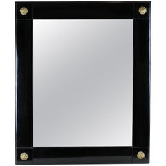 Black Polished Biedermeier Wall Mirror II, Austria, circa 1850
