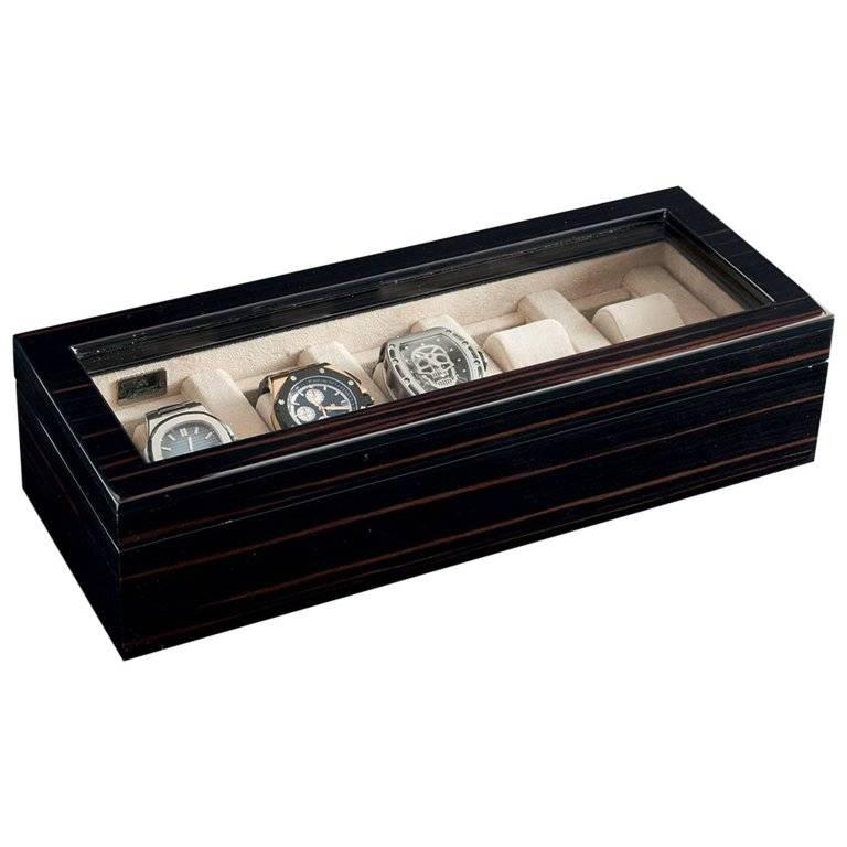 Black Polished Box for Five Watches with Ultrasuede Detail by Agresti