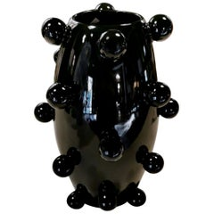 Black Polished Ceramic Vase Sculpture Handmade in Italy, 2010
